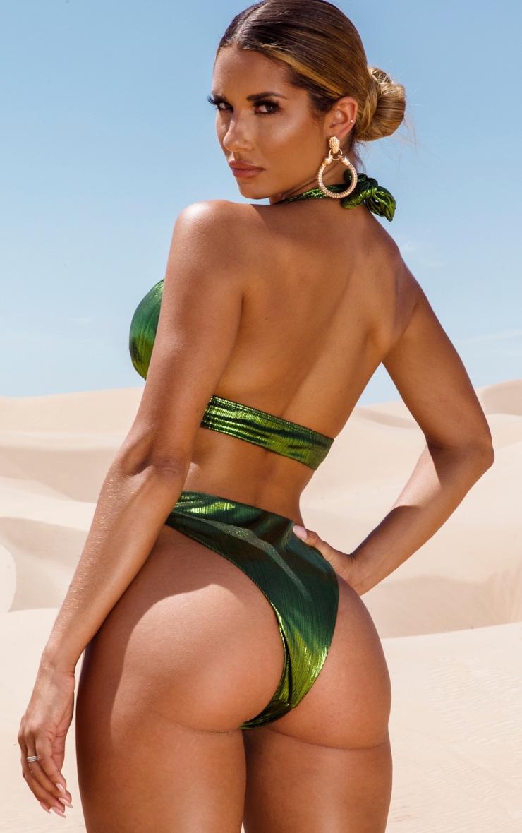 Green Metallic Snake Trim Bikini Top 2