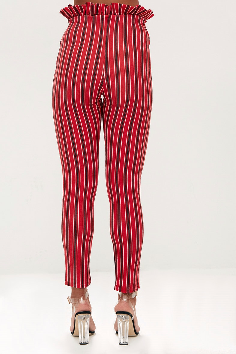 Red Stripe Paperbag Skinny Trousers 4