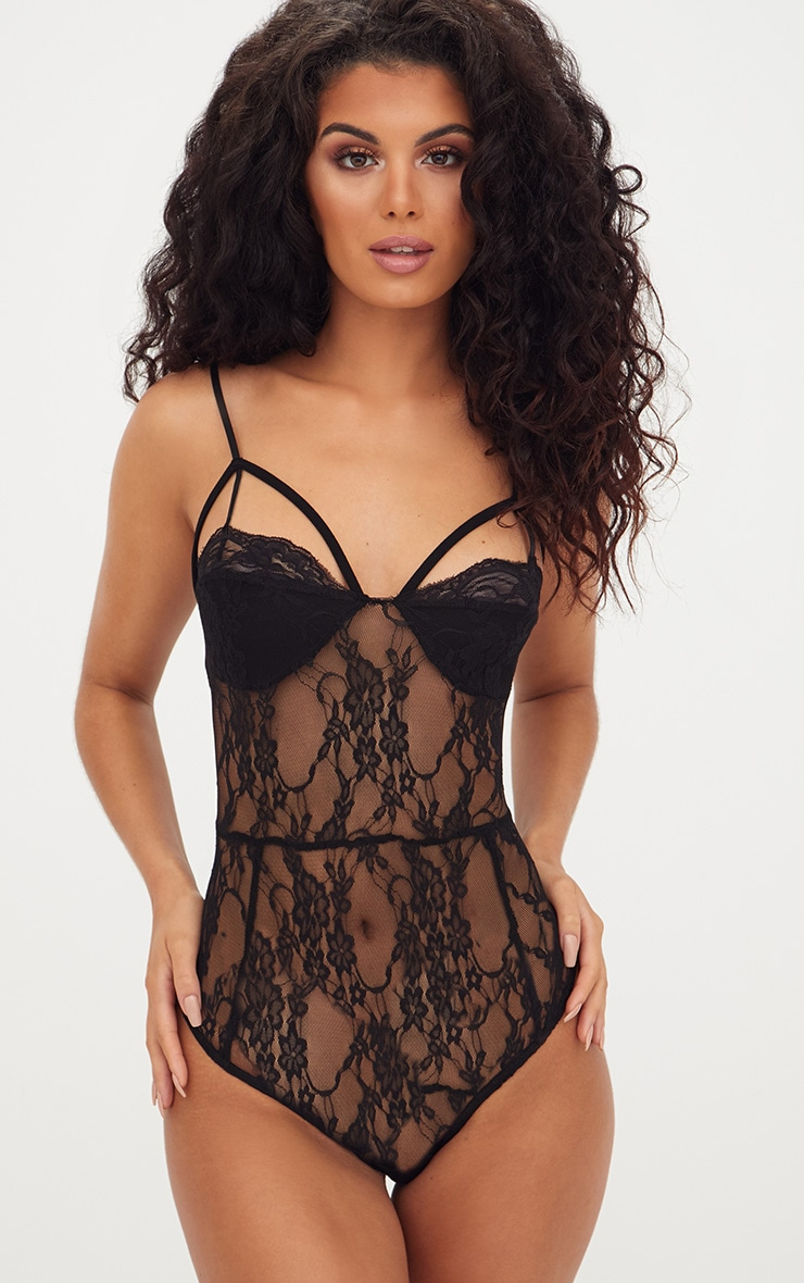 Black Strappy Cupped Lace Bodysuit 1
