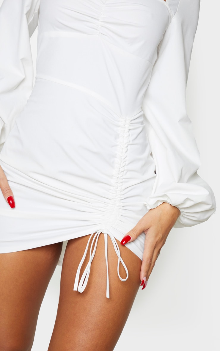 White Long Sleeve Sweetheart Neck Ruched Shirt Dress 4