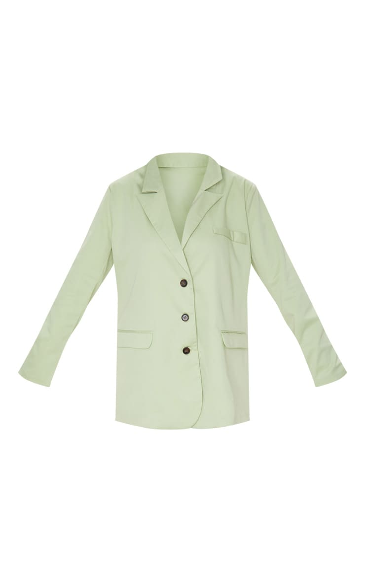 Pale Green Oversized Woven Blazer 3