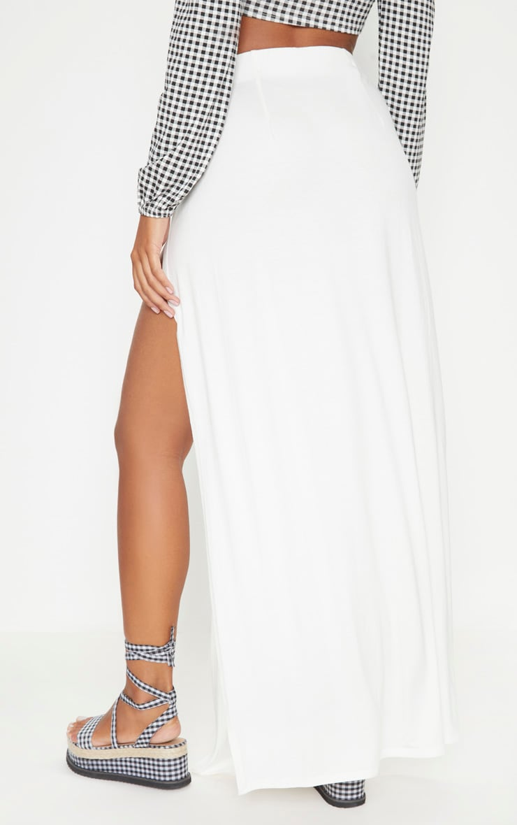White Double Split Maxi Skirt 4