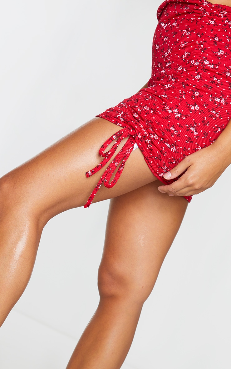 Red Floral Ribbed Ruched Mini Skirt 5