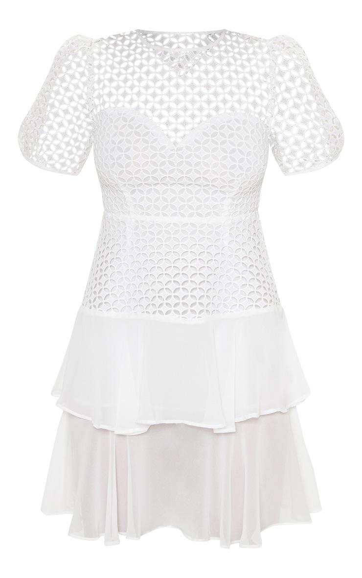 White Lace Puff Sleeve Shift Dress 3