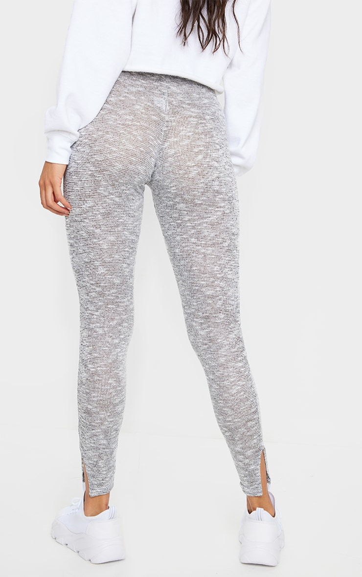 Grey Brushed Marl Split Hem Leggings 3