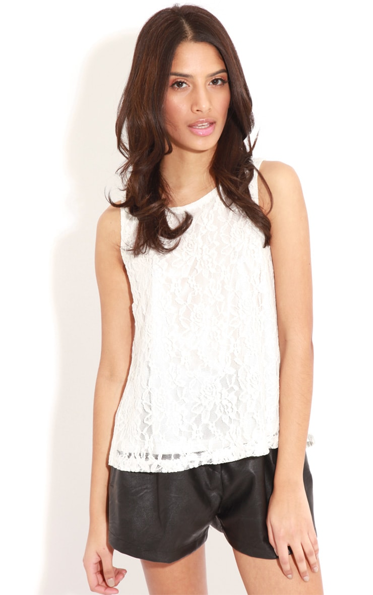 Leilani White Open Back Lace Top 4