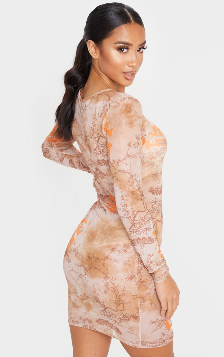 Petite Nude Long Sleeve Oriental Mesh Bodycon Dress  2