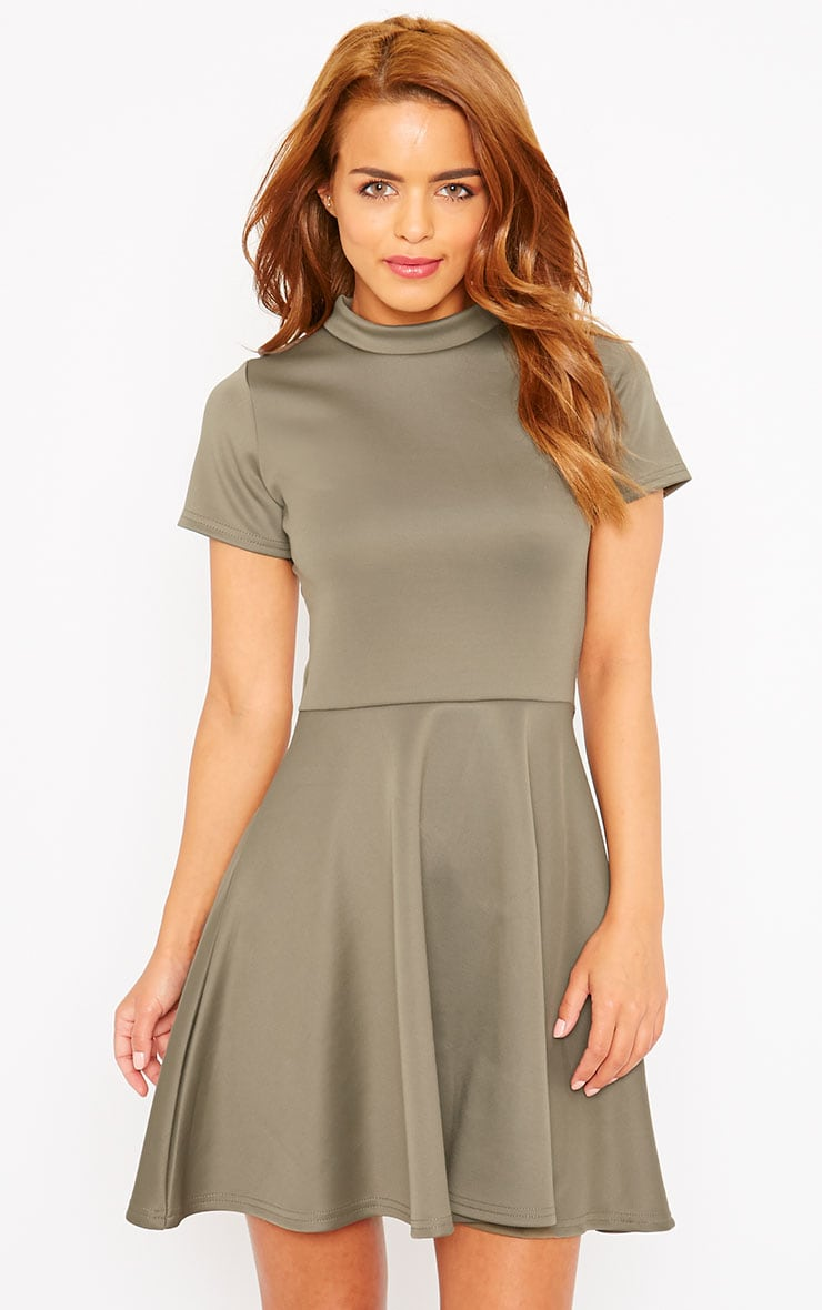 Alexandria Khaki High Neck Skater Dress 1