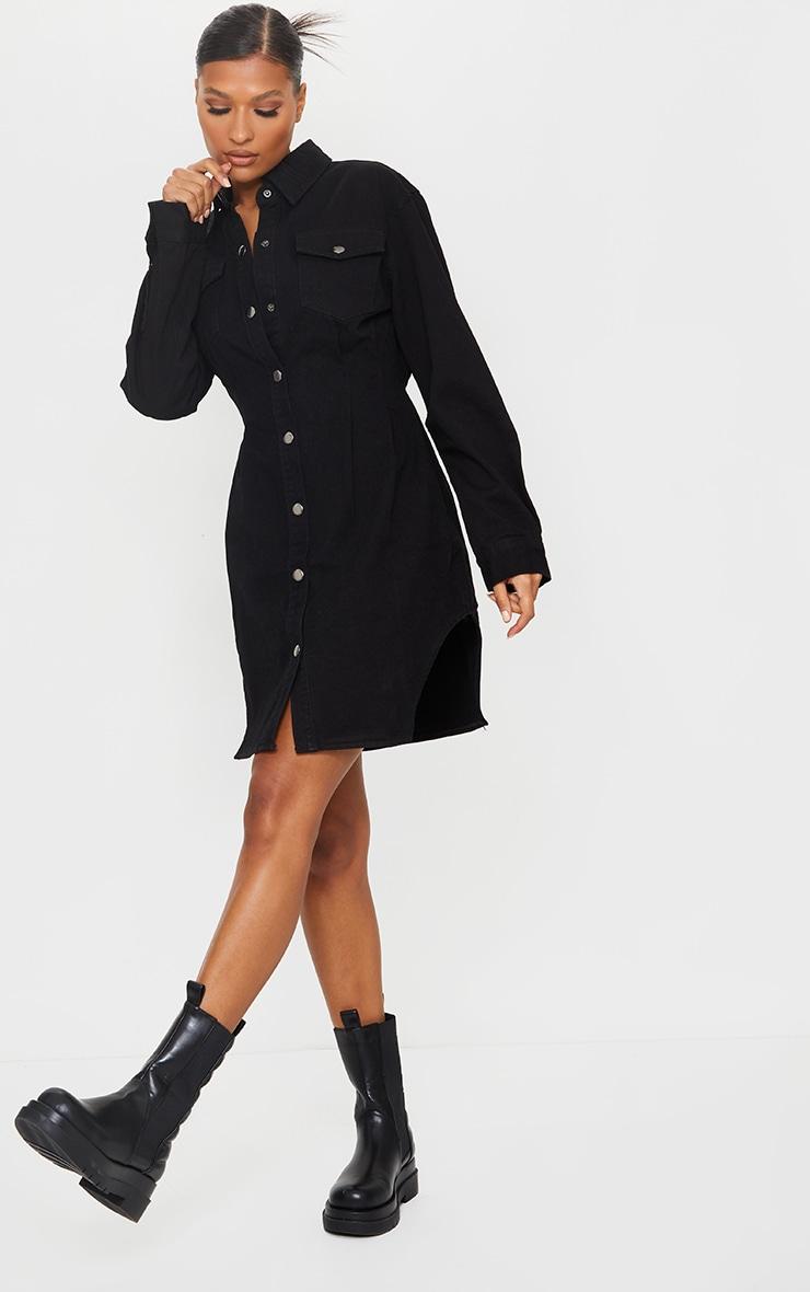 Black Cinched Waist Long Sleeve Denim Dress 3