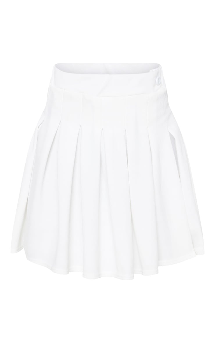 Petite White Pleated Side Split Tennis Skirt 3