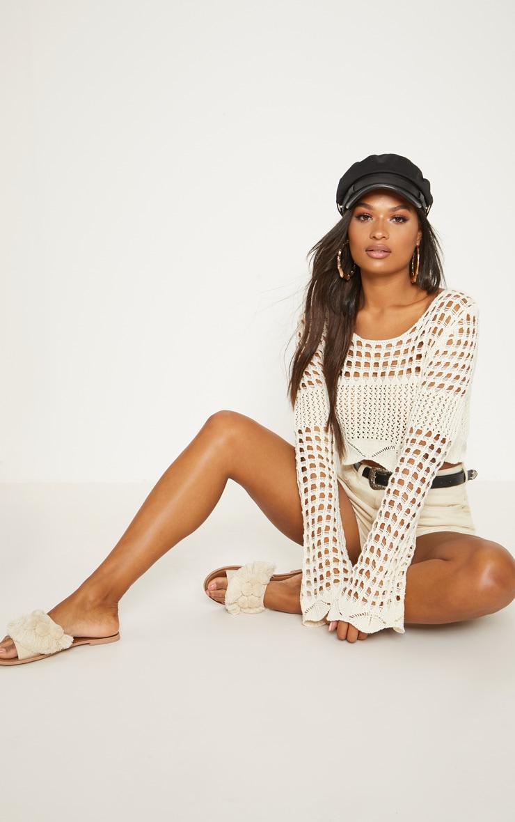 Cream Crochet Long Sleeve Top  4