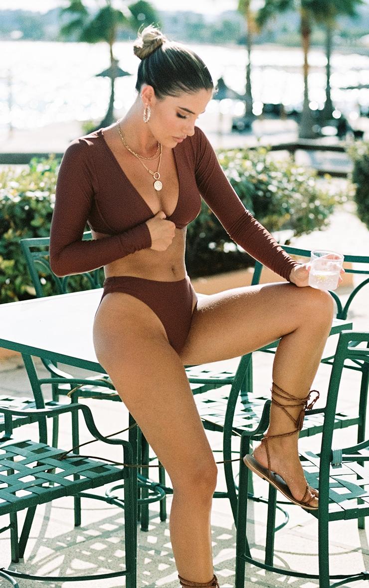 Deep Brown Mix & Match Cheeky Bum Bikini Bottom 1
