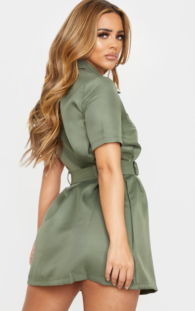 Petite Khaki Zip Detail Belted Utility Dress 2