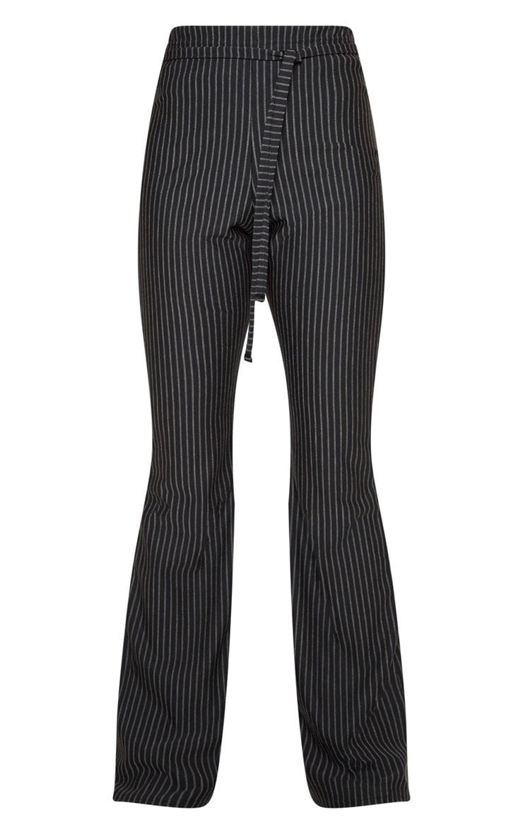 Black Pinstripe Tie Waist Flare Leg Pants 3