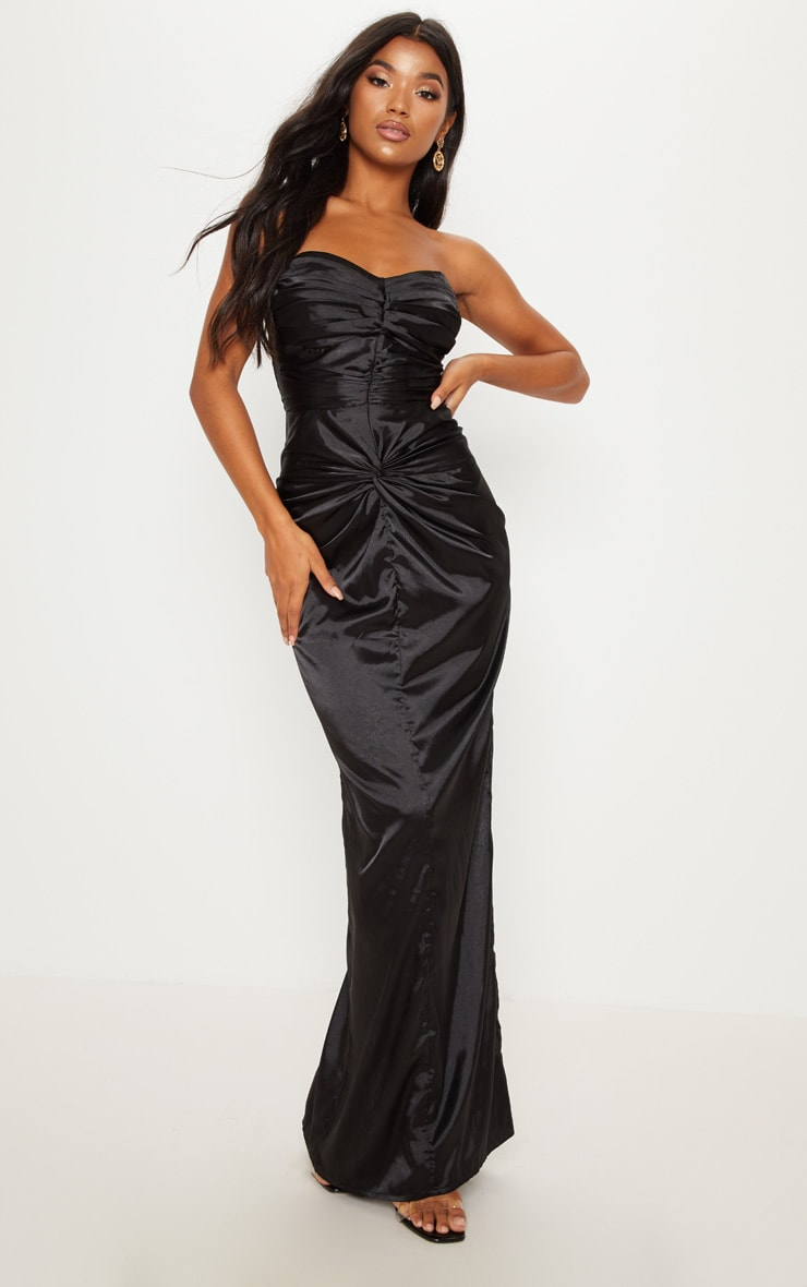 Black Satin Ruched Detail Bandeau Maxi Dress