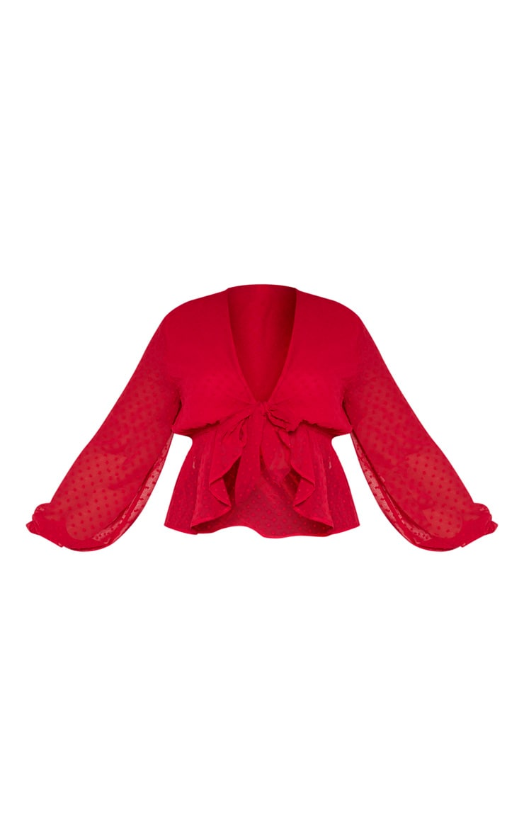 Plus Scarlet Dobby Mesh Tie Front Blouse 3