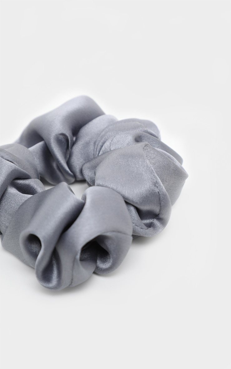Grey Satin Scrunchie 3