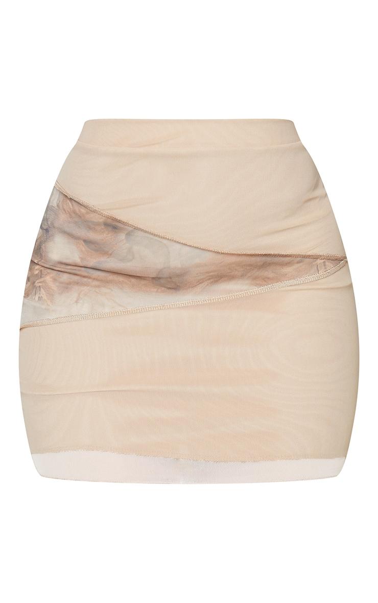 Shape Stone Smoke Print Mesh Panel Detail Bodycon Skirt 6