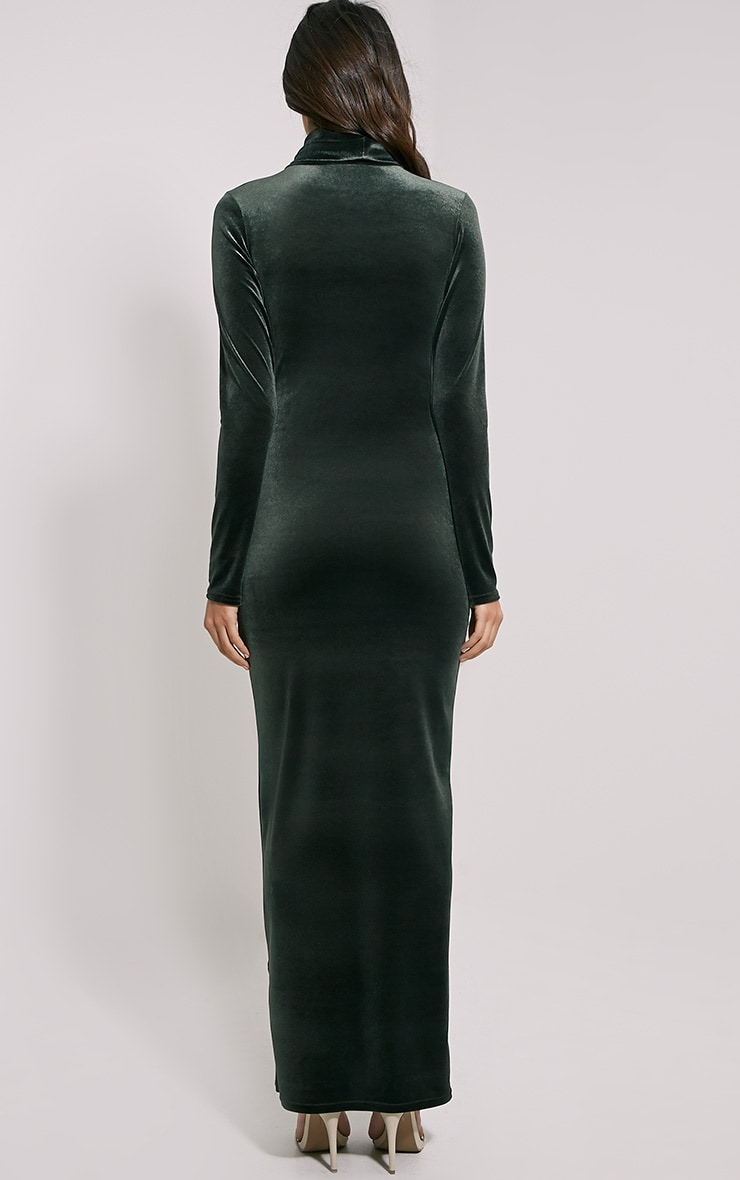 Cindy Khaki Turtle Neck Velvet Maxi Dress 2
