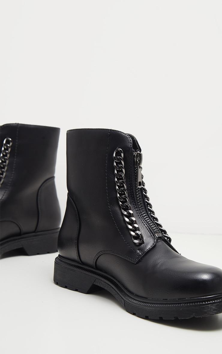 Bottines noir à zip style biker 3