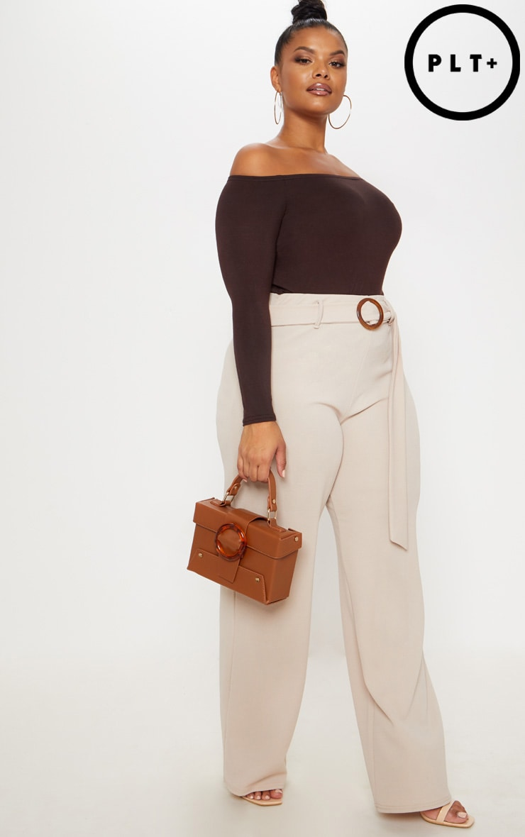 Plus Stone Tortoise Shell Ring Detail Wide Leg Trouser