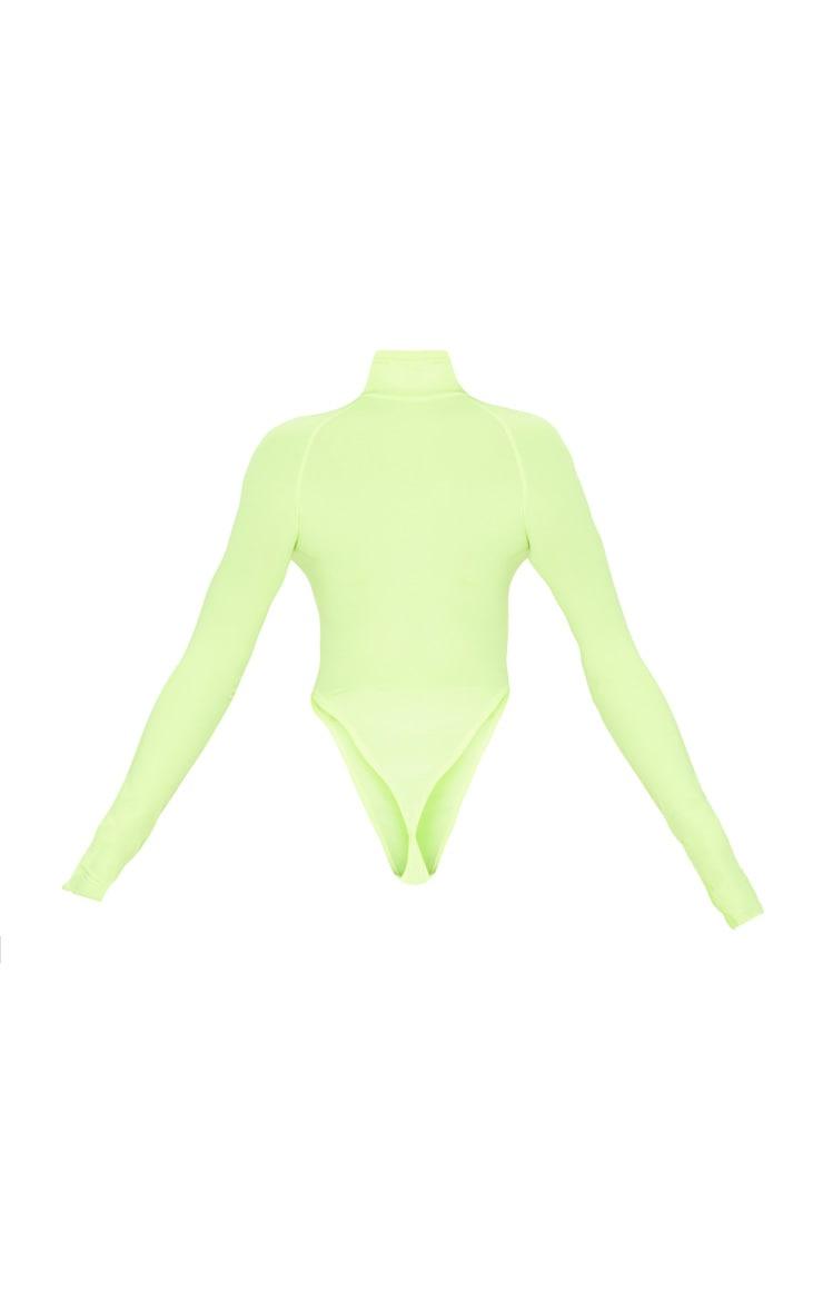 Neon Yellow Slinky High Neck Long Sleeve Bodysuit  4