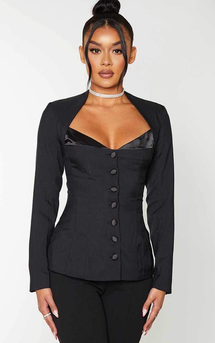 Black Boned Corset Button Up Blazer 1