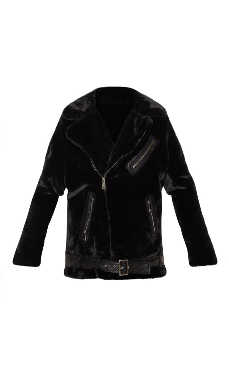 Black Faux Fur Aviator Jacket 3