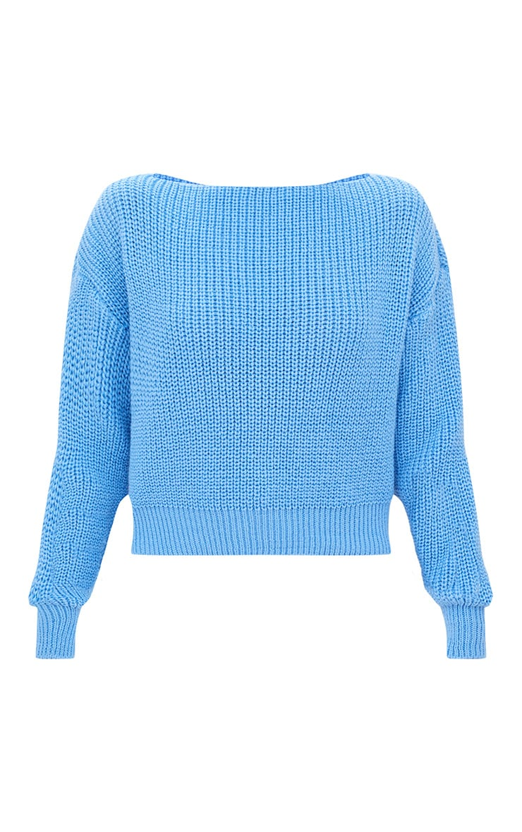 Christiana Blue Knit Slash Neck Crop Sweater 3