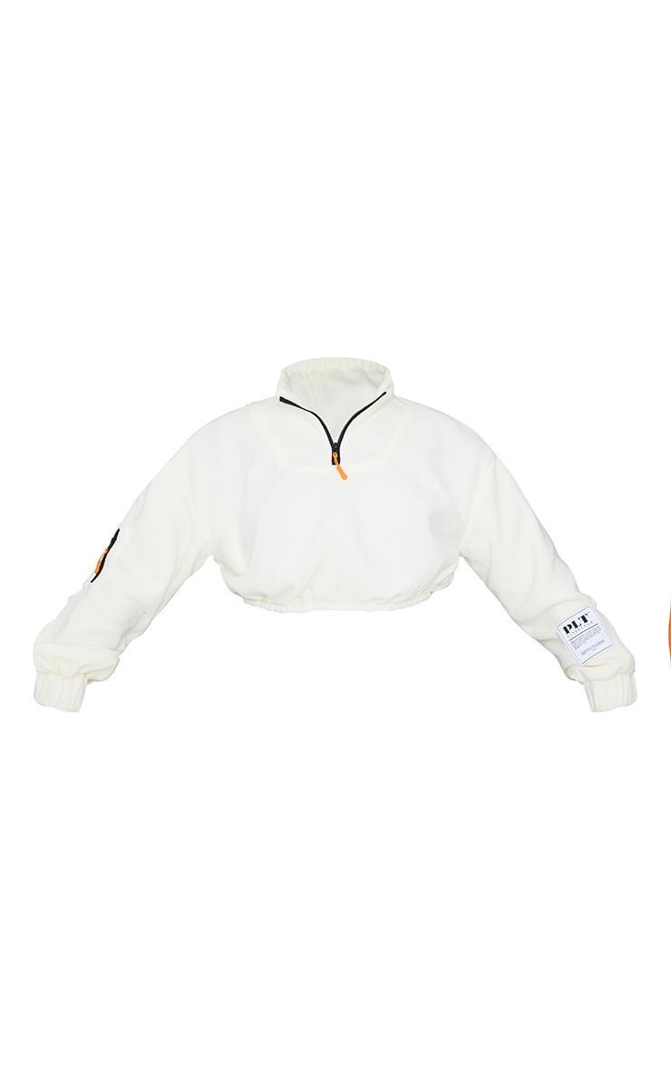 PRETTYLITTLETHING Cream Badge Detail Cropped Zip Through Fleece 5