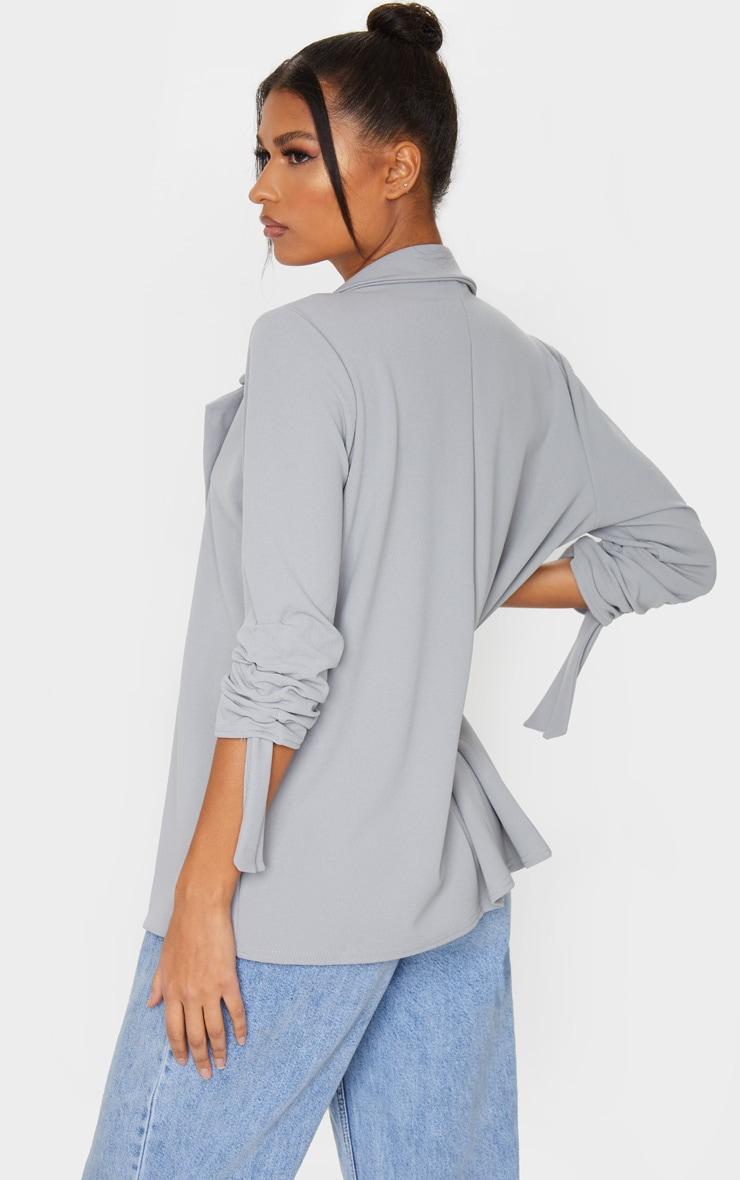 Grey Ruched Sleeve Blazer 2