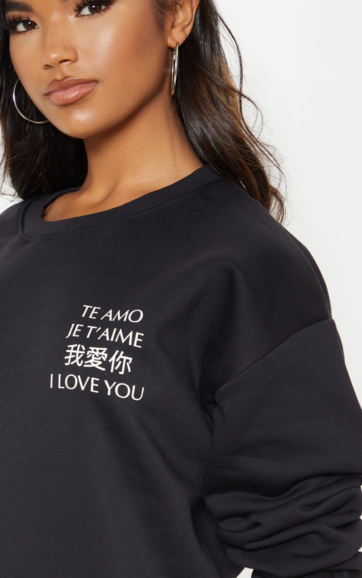 Black I Love You Slogan Oversized Sweater 5