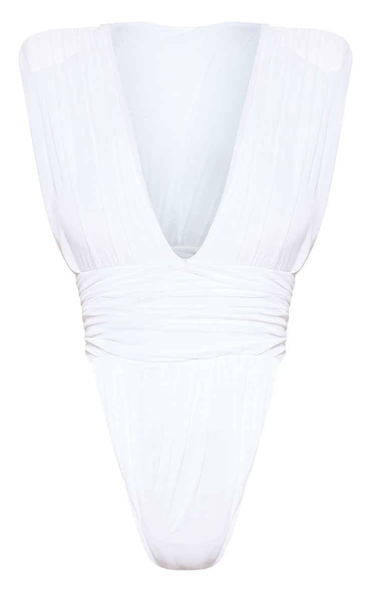 White Ruched High Leg Bodysuit 3