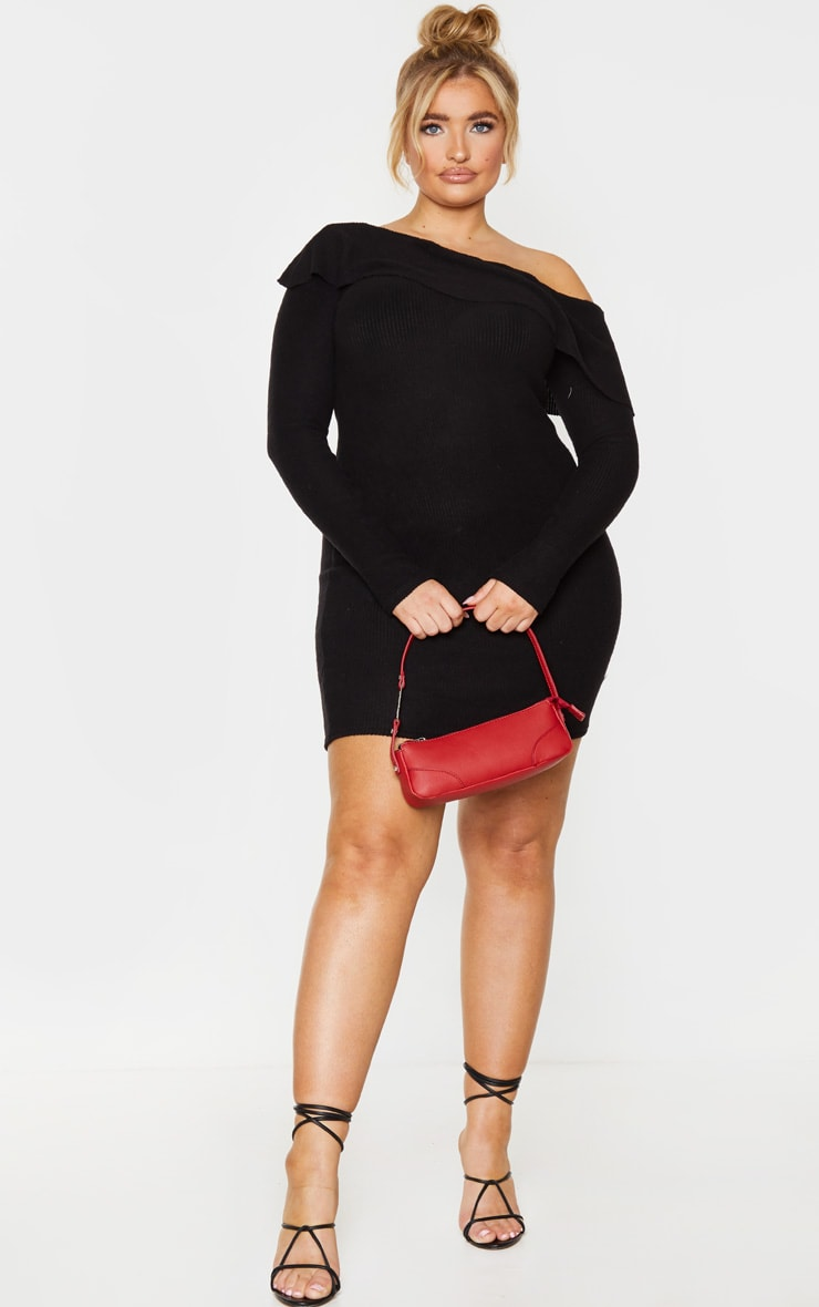 Plus Black Brushed Ribbed Frill Detail Bodycon Dress 3