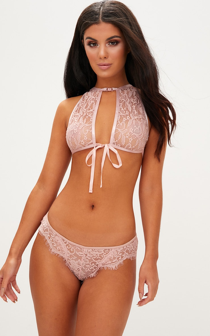 Blush High Neck Lace Bow Tie Bralet 1