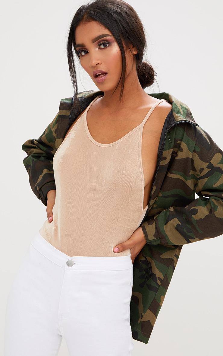 Champagne Shimmer Scoop Back Thong Bodysuit  1