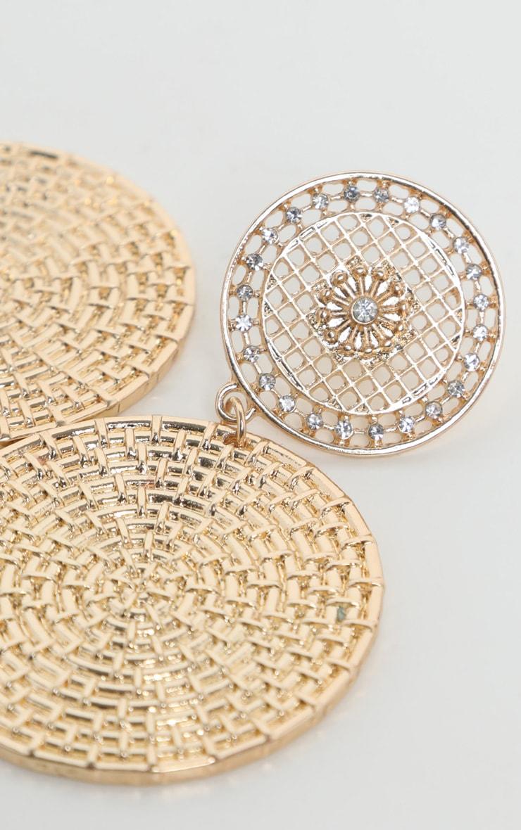 Gold Basket Textured Disc Drop Earrings 3