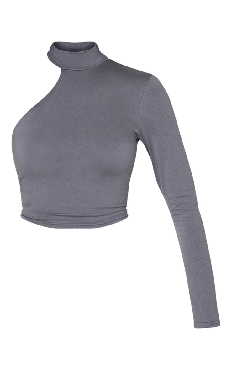 Charcoal Grey High Neck Cotton Cut Out Crop Top 4