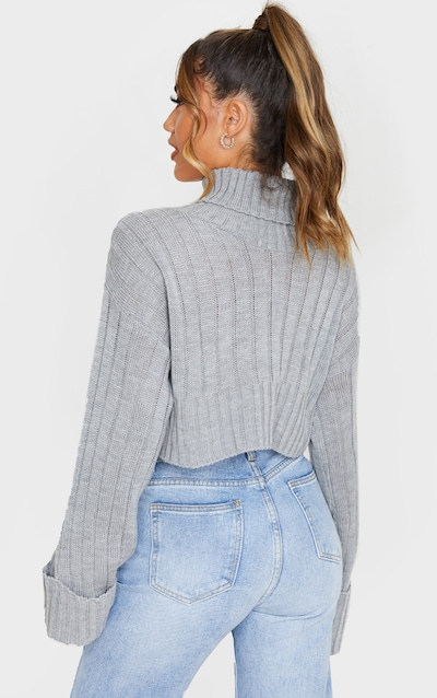 Grey Knitted Rib Cropped Jumper