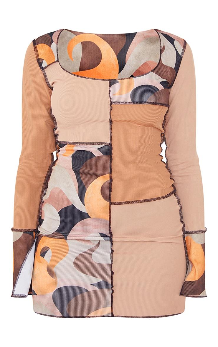 Stone Printed Patchwork Detail Overlock Stitch Long Sleeve Bodycon Dress 5