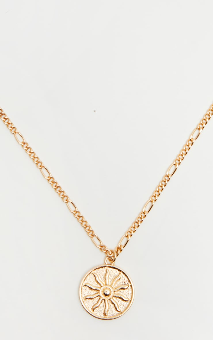 Gold Sun Disc Necklace 3