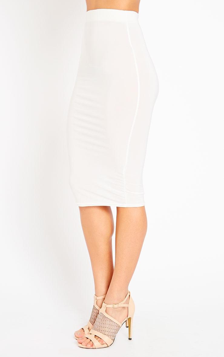 Ava Cream Slinky Midi Skirt 3