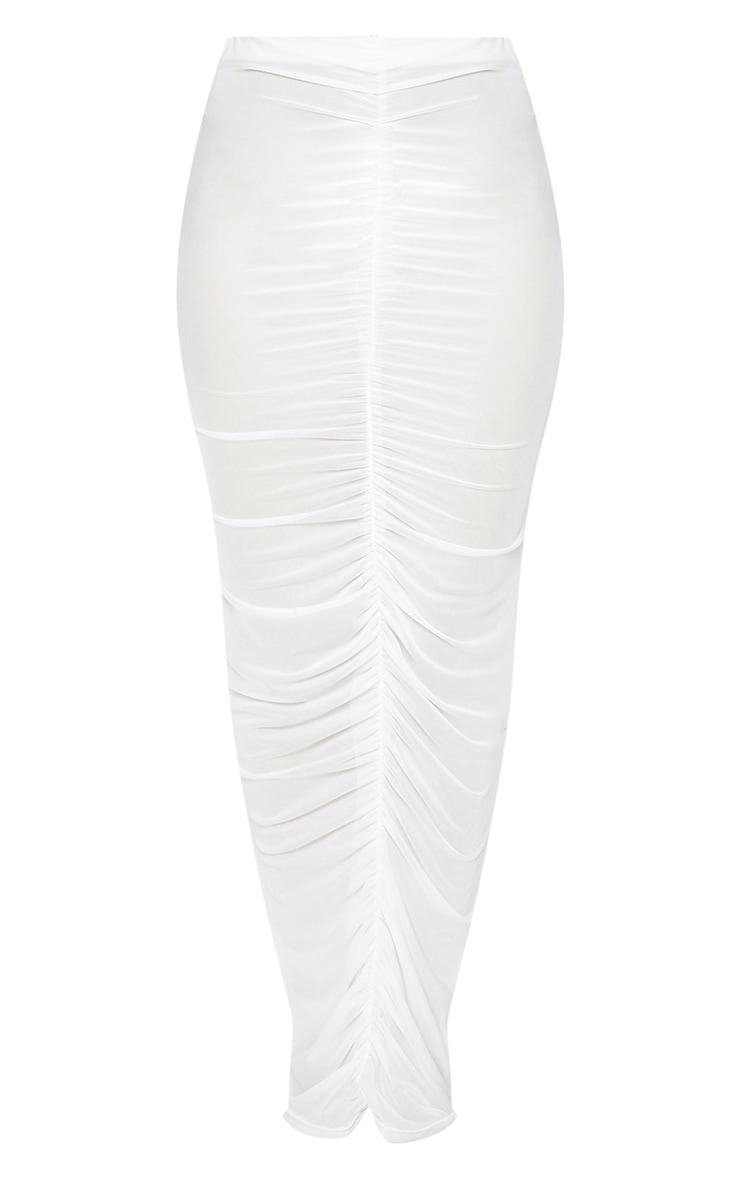 White Ruched Mesh Midi Beach Skirt 5