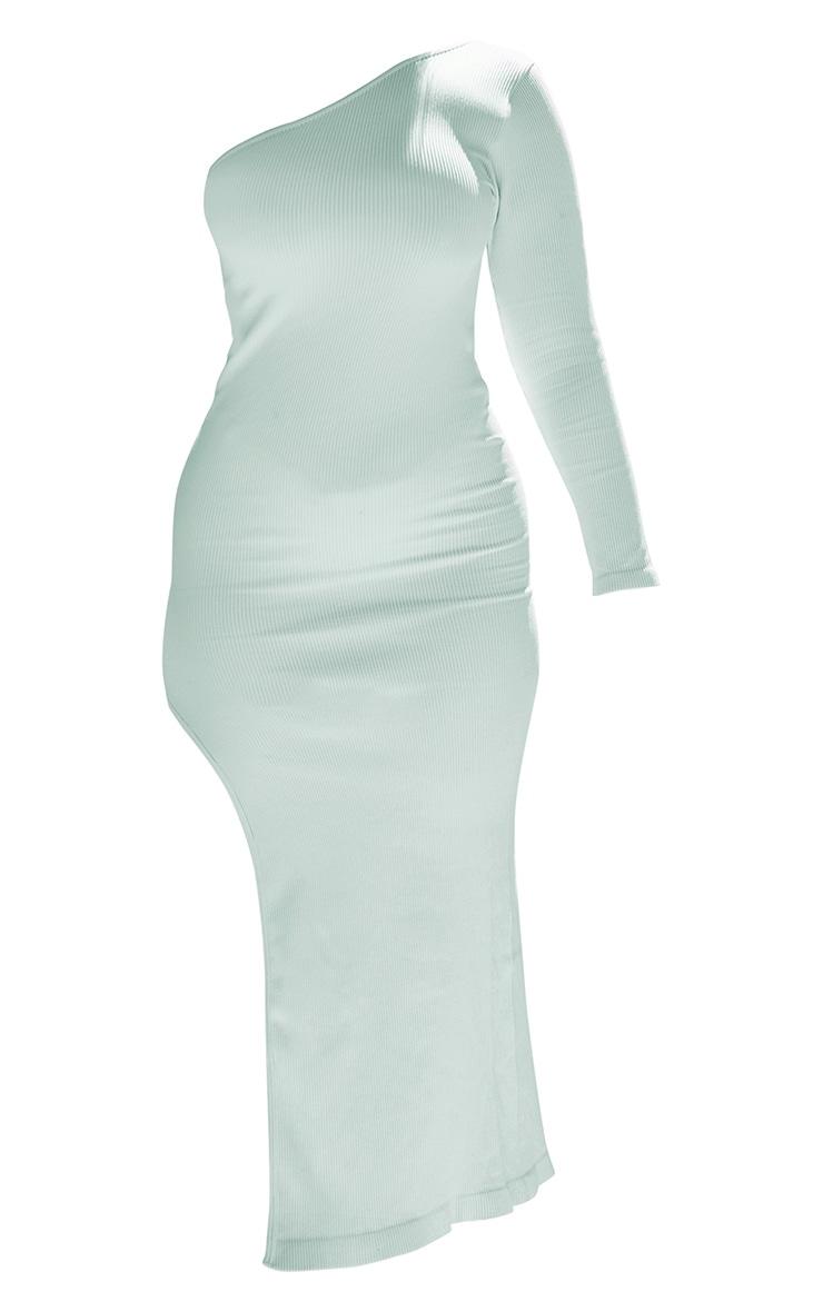 PLT Plus - Robe longue fendue menthe côtelée  à manche unique et contours 5