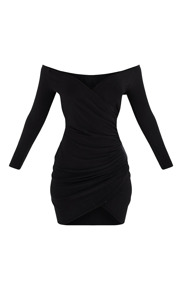 Shape Black Ruched Bardot Bodycon Dress 3