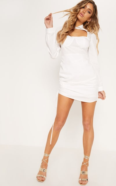 White Cup Detail Cut Out Ruched Shirt Dress