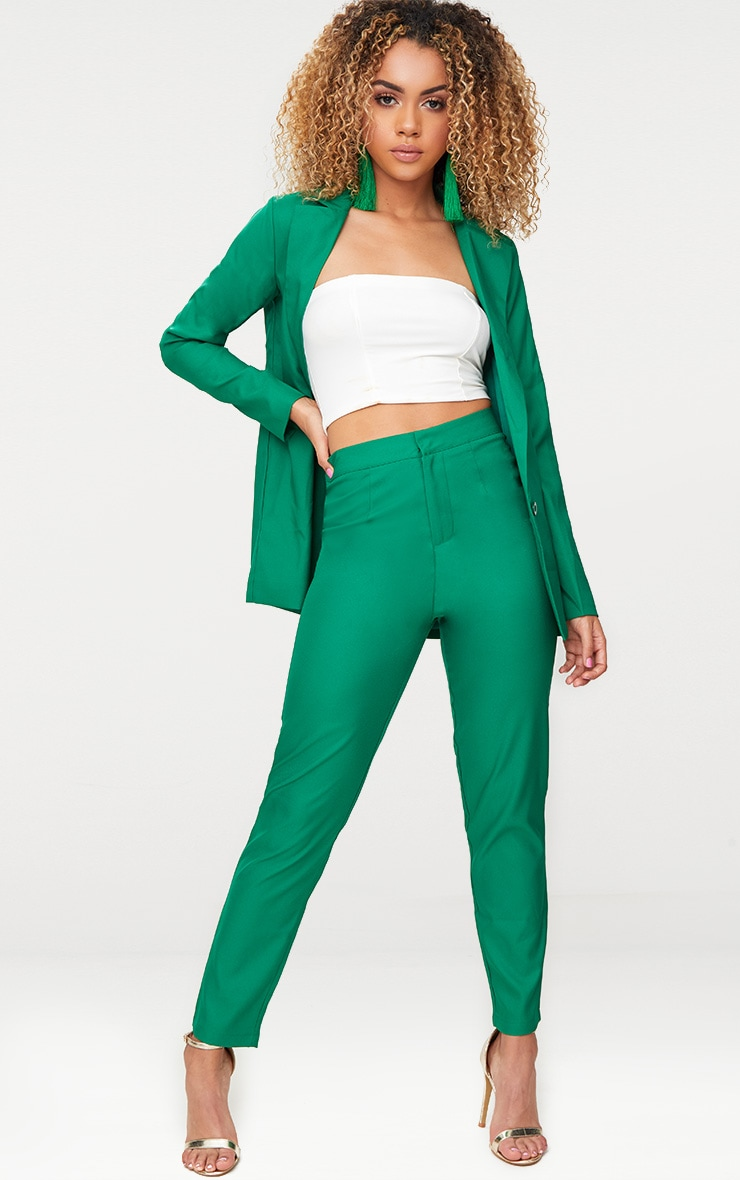Bright Green Straight Leg Tailored Trouser