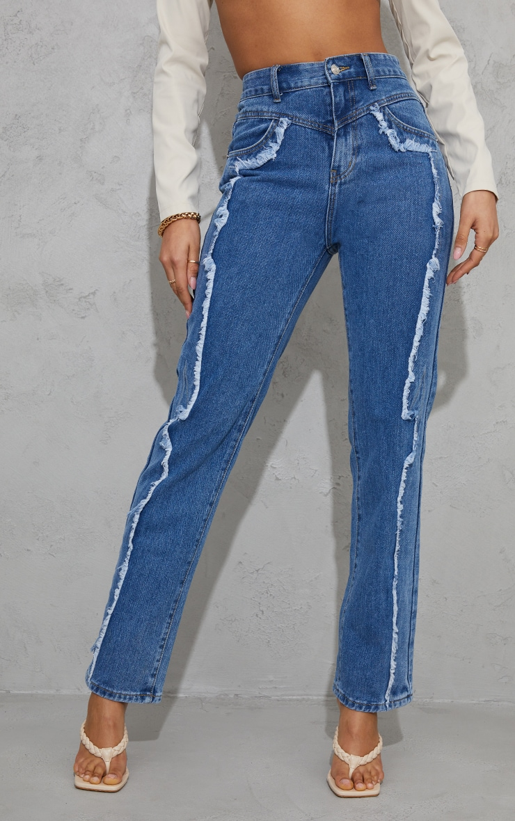 Mid Blue Wash Frayed Seam Front Long Leg Jeans 2