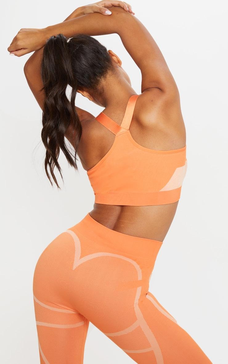 Orange Seamless Scoop Neck Gym Crop Top 2