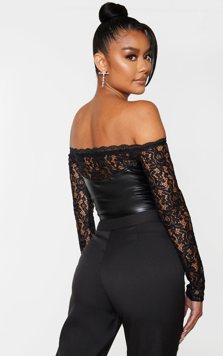 Black Lace Bardot Long Sleeve PU Bodice Blouse 2